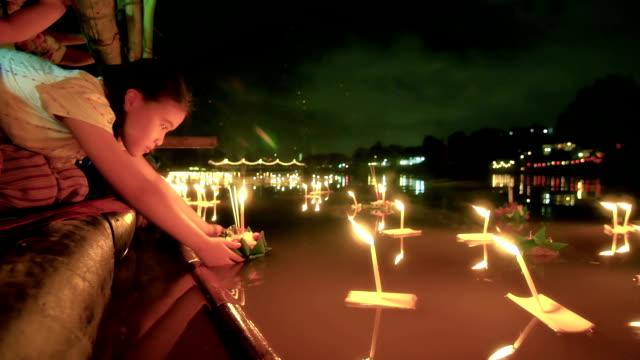 Little girl in Loi Krathong Traditional Festival video