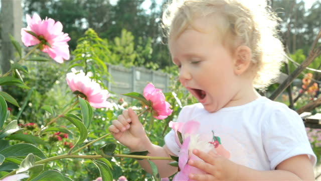 Little girl is sniffing a flower.