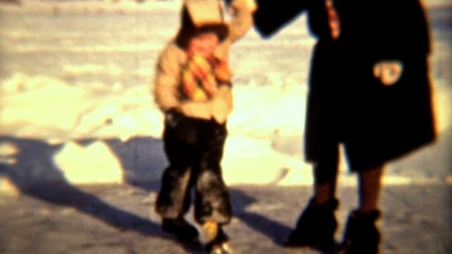 Little Girl Learning To Skate (1942 Vintage 8mm film)