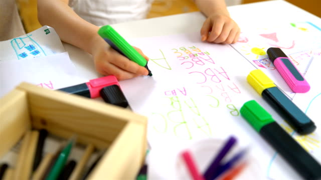 Little Girl Learning To Write The Alphabet Stock Video & More Clips