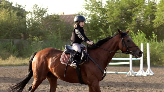 小さな女の子は、牧場でのトレーナーと乗馬を学習します。 ビデオ