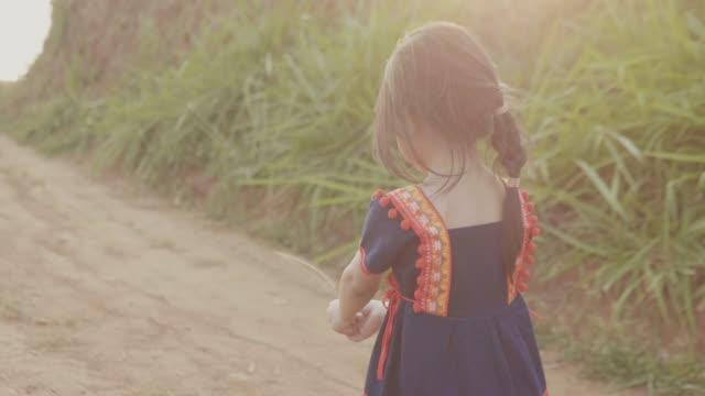 little girl looking at camera on the field background - spettinato video stock e b–roll