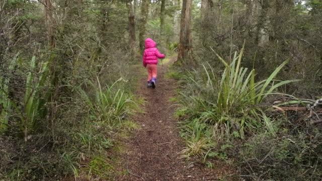 vídeos de stock e filmes b-roll de little girl lost in a rain forest - criança perdida
