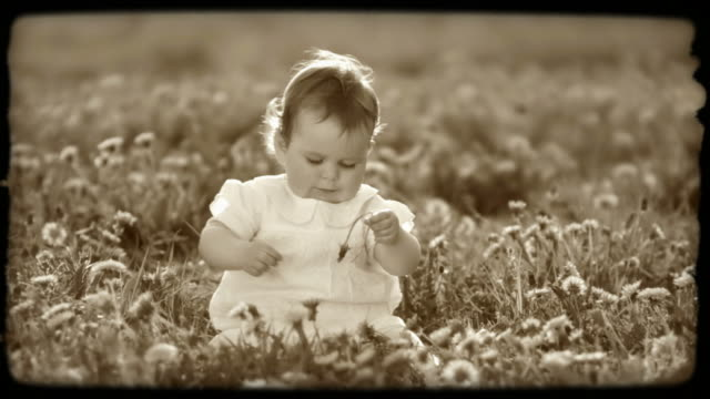 HD SLOW-MOTION: Little Girl On A Meadow  sepia toned stock videos & royalty-free footage