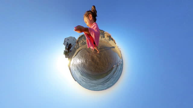 Little Girl on the beach, little planet format