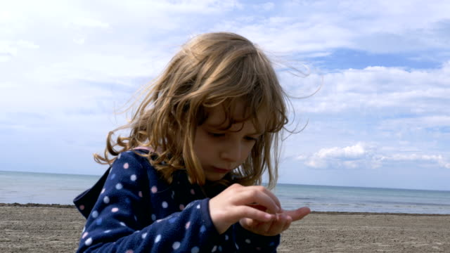 Little Girl on the Shores of Lake Ontario Playing with Pebbles video