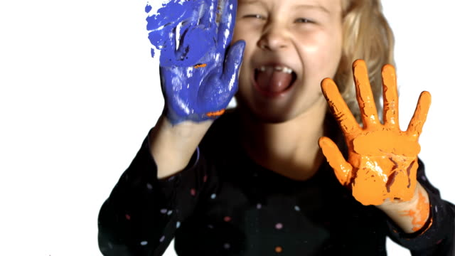 HD: Little Girl Painting With Hands video