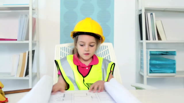 Little Girl Playing Architect video