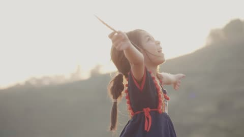 Little Girl Playing in the Fields Little Girl Running Twirling and Spinning in the Fields Over the Hill at Sunset child stock videos & royalty-free footage