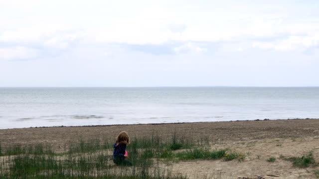 Little Girl Playing in the Sand of Lake Ontario Runs Towards the Camera video