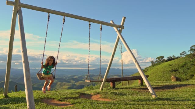 Little girl playing on the swing