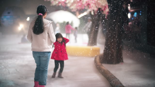 Little girl playing snow