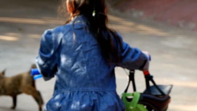 Little girl ride a bike video
