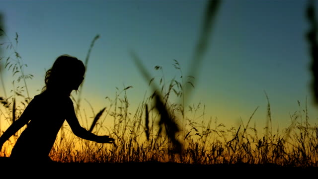 LA TS SLO MO Little Girl Silhouette Running In Grass video
