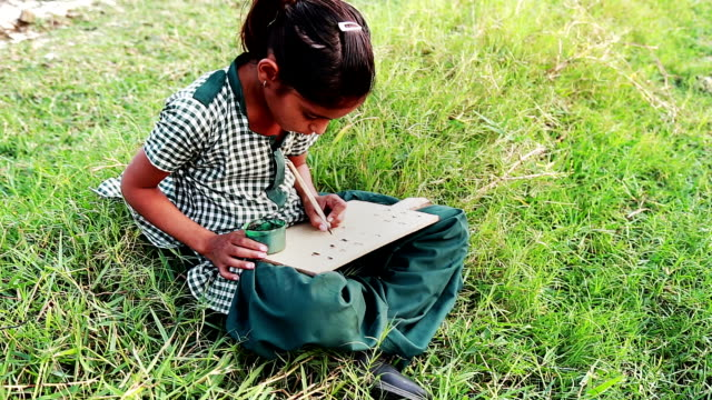 Little Girl Sitting in the Field and Studying Outdoor Portrait video