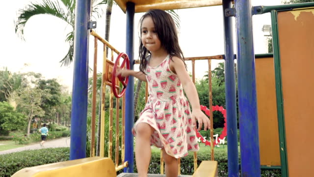 A little girl sliding down slide in park video
