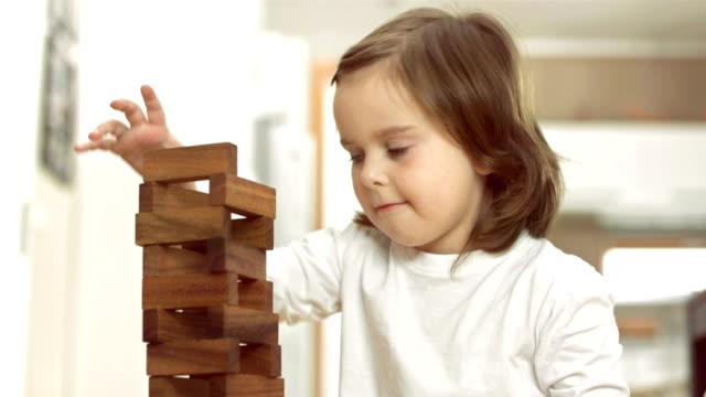 Little Girl Stacking Blocks video