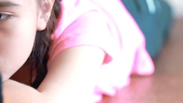 Little girl using tablet video