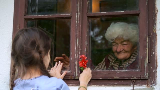 stockvideo's en b-roll-footage met het meisje bezoekt grootmoeder tijdens pandemie door venster - raam bezoek