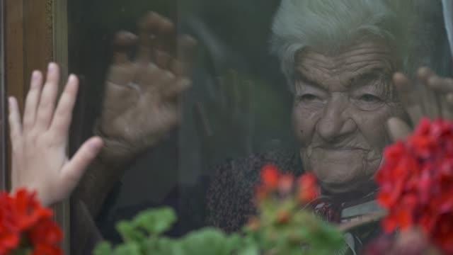 stockvideo's en b-roll-footage met het meisje van het meisje bezoekt grootmoeder tijdens pandemic door venster - raam bezoek