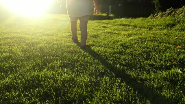 Little Girl Walking Towards the Sun On Grass Slow Motion Little Girl Walking Towards the Sun On Grass Slow Motion human foot stock videos & royalty-free footage