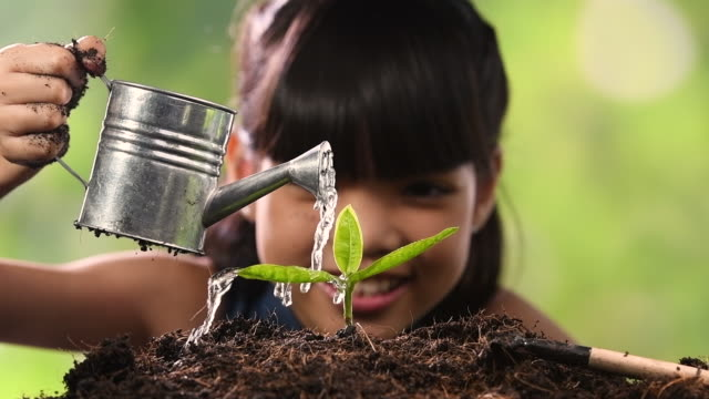 Little girl watering the plant - Slow motion