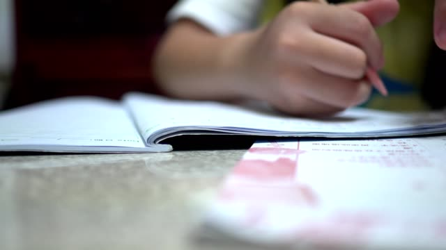 vídeos y material grabado en eventos de stock de una niña que está escribiendo la tarea. - espalda humana