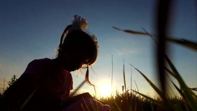 Little girl with enthusiasm plays on the tablet PC. Girl child in glasses sits on a green meadow. Little girl with enthusiasm plays on the tablet PC. Girl child in glasses sits on a green meadow. Summer evening at sunset. pigtails stock videos & royalty-free footage