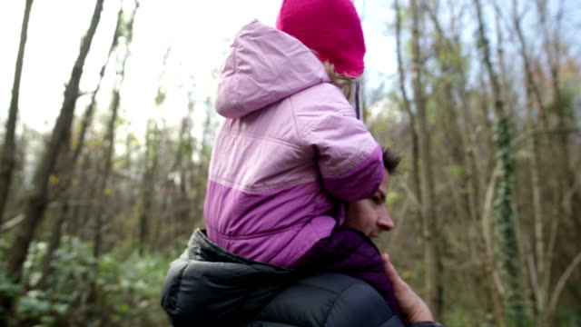 Little Girl with Father in Woods video