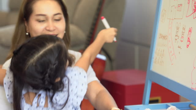 vídeos de stock, filmes e b-roll de menina com seu desenho da matriz na placa branca em casa-apoio e crianças da família - salas de aula