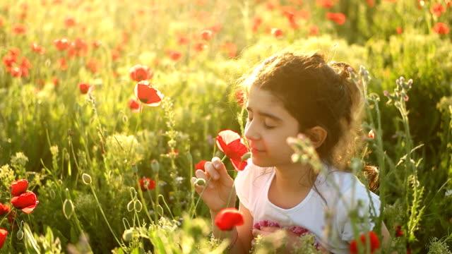 Little girl with in a flower field