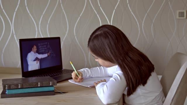 vídeos de stock, filmes e b-roll de garotinhas frequentando a aula online de casa. - salas de aula