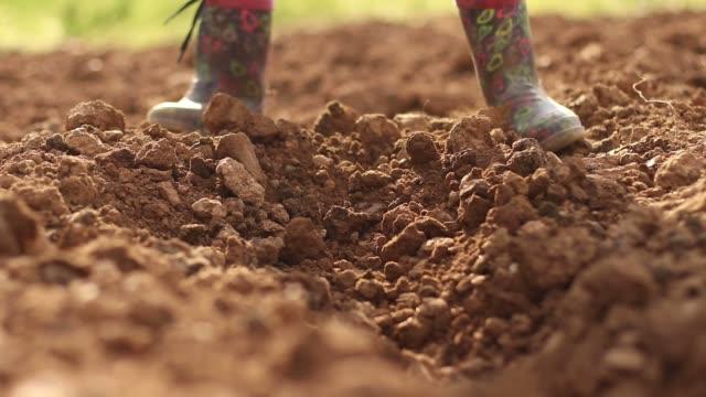 vídeos de stock e filmes b-roll de little girls dig the soil - green world