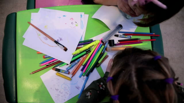 little girls sketching and drawing in a preschool classroom - school supplies stock videos and b-roll footage