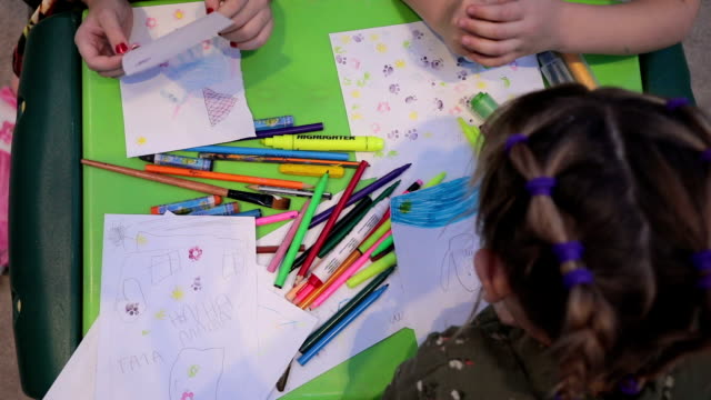 Little Girls Sketching and Drawing in a Preschool Classroom video