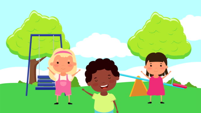 little interracial kids group in the park