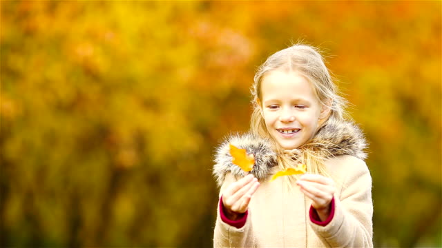 Little kid outdoors have fun at beautiful warm day with yellow leaf in fall video