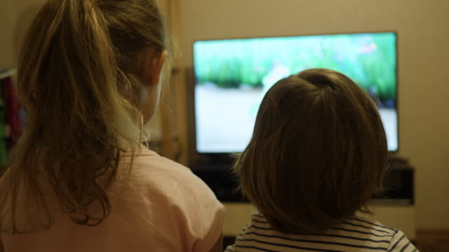 vídeos de stock e filmes b-roll de little kids while watching tv. children watch television on living room. concept video game, entertainment, emotions, family. children sister and brother watching tv, back view. - tv e familia e ecrã