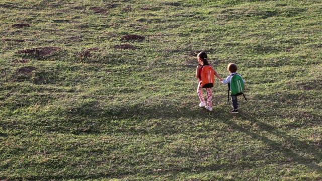 小さなスクールガールウォーキング、彼女の兄弟 - 新学期点の映像素材/bロール
