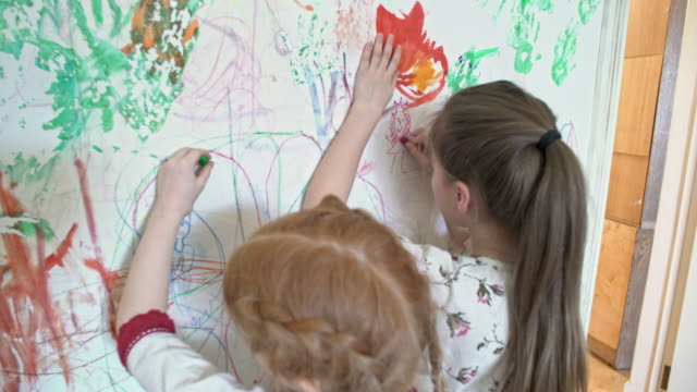 Little Sisters Drawing on Wall video