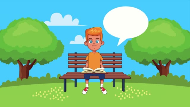 little student boy reading book seated in park chair animated character video