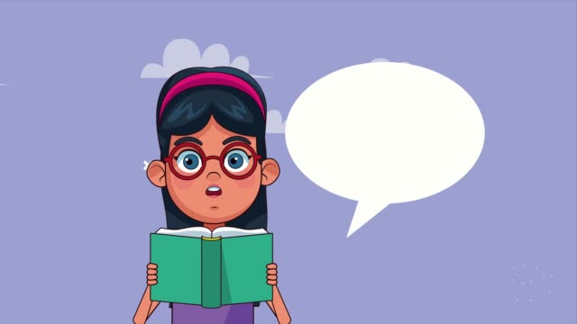 Bидео little student girl reading book with speech bubble animated character