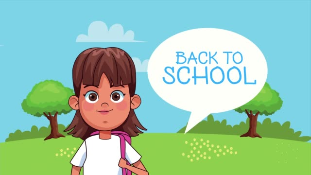Bидео little student girl reading book with speech bubble in the park animated character