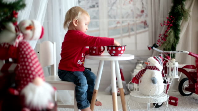 vídeos y material grabado en eventos de stock de chico de niño pequeño, beber té y comer galletas con peluche en un día de nieve - snowman