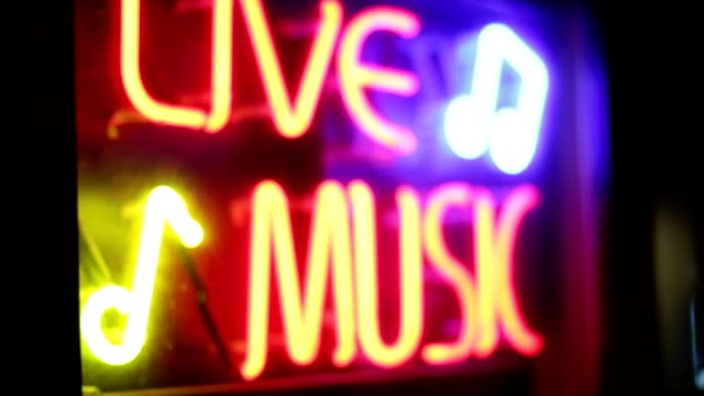 'Live Music' Neon Sign at night video