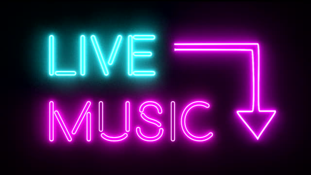 Live music neon sign lights logo text glowing multicolor video