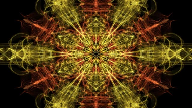 赤とオレンジのフラクタル マンダラ、黒い背景にビデオ トンネルを住んでいます。精神的な瞑想訓練の対称パターンのアニメーション - 万華鏡模様点の映像素材/bロール