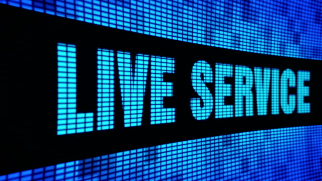 live service side text scrolling led wall pannel display sign board - call center стоковые видео и кадры b-roll