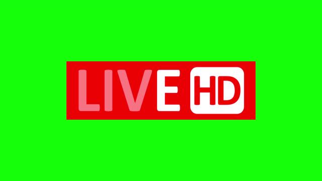 vidéos et rushes de signe live stream. symbole rouge, bouton de diffusion en direct, diffusion, emblème de flux en ligne. canal alpha - format hd