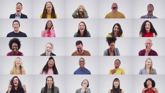 lebe die art von leben, die dich zum lachen bringt - montage filmtechnik stock-videos und b-roll-filmmaterial